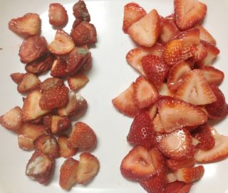 Before and after Strawberries after 9 days